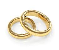 кольцо золота 3d 2 wedding Стоковое Изображение