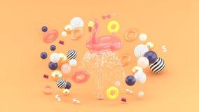 Кольцо фламинго резиновое плавая на фонтан окруженный красочными резиновыми кольцами на оранжевой предпосылке иллюстрация штока