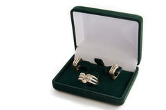 кольцо ювелирных изделий золота серег коробки Стоковые Фотографии RF