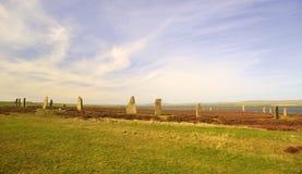 Кольцо Brodgar, широкий взгляд, Stenness, острова Orkney Стоковое Изображение