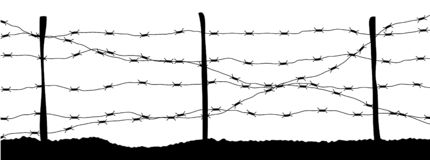 Колючая проволока запретный зона стены тюрьмы бесплатная иллюстрация