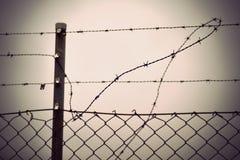 Колючая проволока и загородка звена цепи Стоковое фото RF
