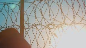 Колючая проволока силуэта режима тюрьмы загородки строгая загородка нелегальной иммиграции от беженцев нелегальная иммиграция сток-видео
