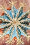 Колючий кактус, взгляд сверху Зеленоголубой кактус с желтыми длинными иглами Плоское положение Конец-вверх Стоковые Изображения
