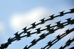 колючий провод голубого неба Стоковая Фотография