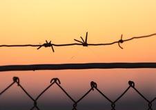 колючий провод захода солнца Стоковые Фотографии RF