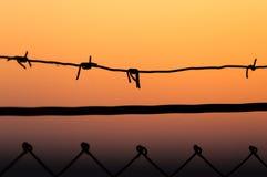 колючий провод захода солнца Стоковая Фотография