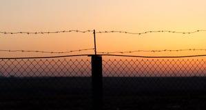 колючий провод захода солнца Стоковые Изображения RF
