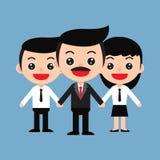 команда ฺBusiness работников и босса в милом стиле шаржа Стоковые Фото