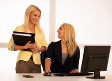 Команда дела - 2 женщины работают в офисе проверяя базу данных Стоковые Фото