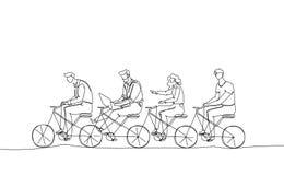 Команда дела - одна линия иллюстрация стиля дизайна Стоковое Изображение