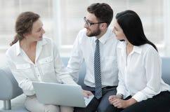 Команда дела смотрит информацию на компьтер-книжке Стоковая Фотография RF