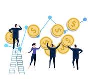 Команда крошечных миниатюрных figurines подпирая вверх деньги монетки доллара концепция управления инвестициями и инфляции денег иллюстрация штока