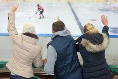 Команда льда людей поддерживая hokey стоковая фотография