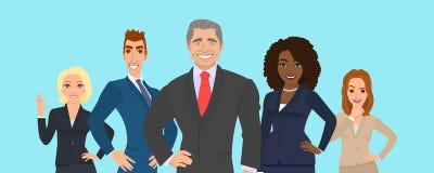 команда мегафона человека повелительницы кофе дела Группа людей одетая в строгом костюме Иллюстрация вектора в плоском стиле Наци бесплатная иллюстрация