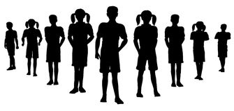 команда силуэта ребенка иллюстрация штока