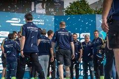Команда Renault присутствуя на церемонии вручения премии гоночной машины формулы e FIA E-Prix Стоковая Фотография RF