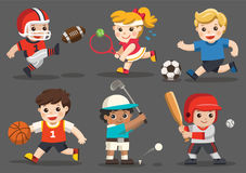 Командные виды спорта для детей иллюстрация штока