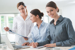 Команда бизнес-леди работая на столе Стоковое Фото