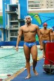 Команда Греция водного поло перед спичкой группы a ` s людей Олимпиад Рио 2016 предварительной круглой Стоковое Изображение RF