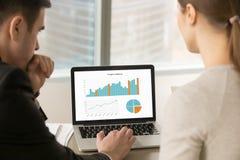 Команда дела анализируя данные по stats на экране компьтер-книжки, человеке проекта стоковое изображение