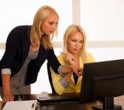 Команда дела - 2 женщины работают в офисе проверяя базу данных Стоковое фото RF