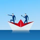 Команда дела на бумажном корабле ища успех, возможности, будущее дело отклоняет рука принципиальной схемы коммерсантки 3d указыва Стоковые Фотографии RF