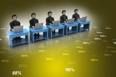 Команда дела смотря компьтер-книжку Стоковые Изображения RF