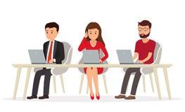 Команда дела людей за столом работая на компьтер-книжке Teamw иллюстрация штока