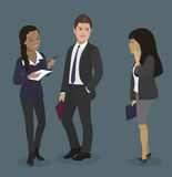 команда мегафона человека повелительницы кофе дела Красивый бизнесмен, секретарша и партнер с smartphone Иллюстрация сыгранности Стоковые Фотографии RF