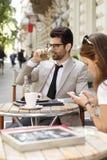 команда мегафона человека повелительницы кофе дела Стоковые Фотографии RF