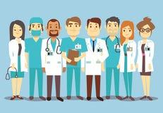 Команда медицинского персонала больницы врачует иллюстрацию вектора хирурга медсестер плоскую