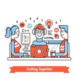 Команда разработчиков работая на запуске дела бесплатная иллюстрация