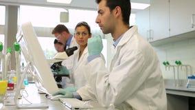 Команда серьезных студентов науки работая совместно в лаборатории видеоматериал
