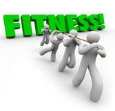 Команда слова фитнеса работая вытягивающ совместно физическую силу Стоковое Фото