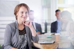 Команда успешных бизнесменов имея встречу в исполнительном sunlit офисе Стоковые Фотографии RF