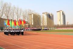 Команда флага цвета маршируя на спортивную площадку Стоковые Изображения
