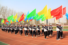 Команда флага цвета маршируя на спортивную площадку Стоковая Фотография RF