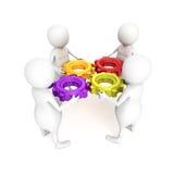 команда людей 3d с mechanismconnection шестерни Стоковые Фото