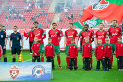 Команда Lokomotiv перед игрой футбола Стоковые Фото