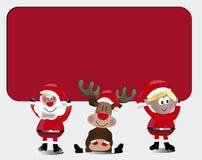 команда santa с карточкой знака Стоковые Фотографии RF