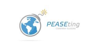 Комбинация логотипа земли и бомбы вектора Глобус и символ или значок терроризма Уникально конфликт, мир, глобальный, экологичност Стоковое Фото