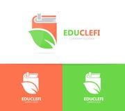 Комбинация логотипа книги и лист Библиотека и символ или значок eco Уникально шаблон органических и bookstore логотипа дизайна стоковое фото rf
