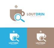 Комбинация логотипа кофе и loupe Питье и символ или значок лупы Уникально дизайн логотипа чашки и поиска Стоковые Изображения