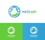 Комбинация логотипа склянки и планеты Лаборатория и символ или значок мира Уникально шаблон дизайна логотипа бутылки и глобуса стоковое фото