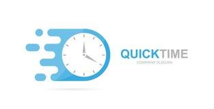 Комбинация логотипа часов вектора быстрая Символ или значок таймера скорости Уникально выразите и наблюдайте шаблон дизайна логот бесплатная иллюстрация