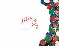 Комбинация покера диаманта королевского притока изолировано Стоковая Фотография