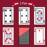 Комбинация покера играя карточки 2 пар Иллюстрация EPS 10 На красной предпосылке Использовать для дизайна, регистрация, сеть иллюстрация штока