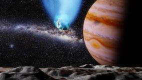 Комета летает над ландшафтом луны Юпитера иллюстрация вектора