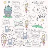 Комиксы с принцессой и извергом Стоковая Фотография